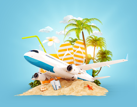 Photo for Passenger airplane and tropical palm on a paradise island. Unusual travel 3d illustration. Summer vacation and air travel concept - Royalty Free Image
