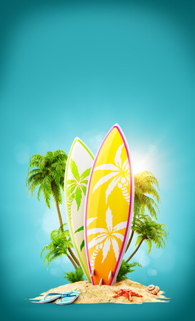 Foto de Surf boards on paradise island with palms. Unusual travel 3d illustration. Summer vacation concept - Imagen libre de derechos