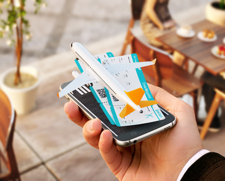 Foto de Smartphone application for online searching, buying and booking flights on the internet. Unusual 3D illustration of commercial airplane and boarding passes on smart phone in hand - Imagen libre de derechos