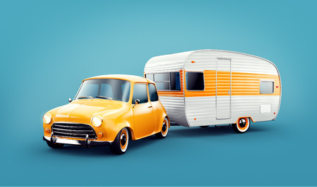 Foto per Retro car with white trailer. Unusual 3d illustration of a caravan. Camping and traveling concept - Immagine Royalty Free