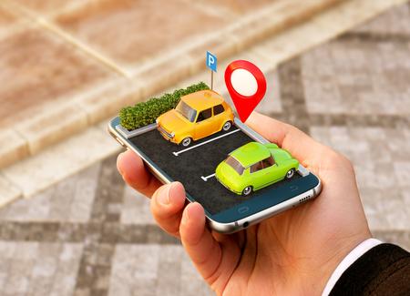 Foto de Smartphone application for online searching free parking place on the map. GPS Navigation. Parking concept. - Imagen libre de derechos