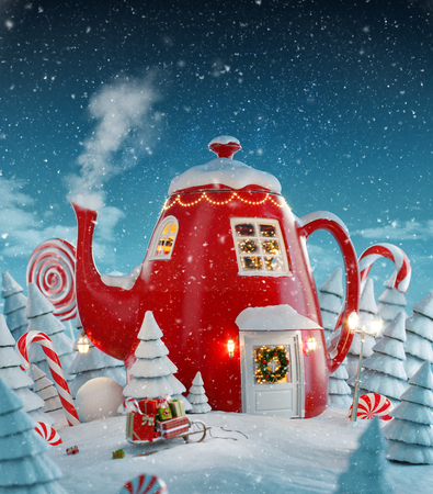 Photo pour Amazing fairy house decorated at christmas in shape of kettle with christmas interior inside in magical forest. Unusual christmas 3d illustration postcard. - image libre de droit