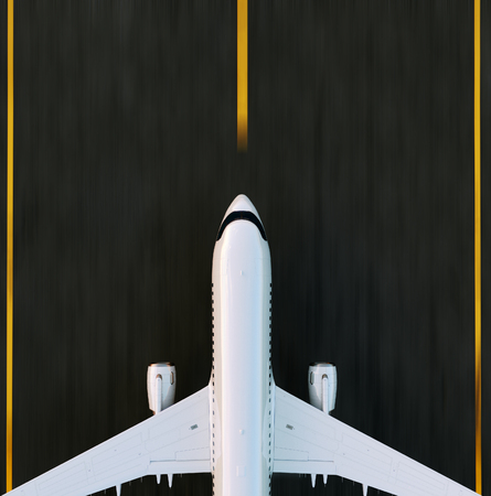 Foto de White commercial airplane standing on the airport runway at sunset. Passenger airplane is taking off. Airplane concept 3D illustration. - Imagen libre de derechos