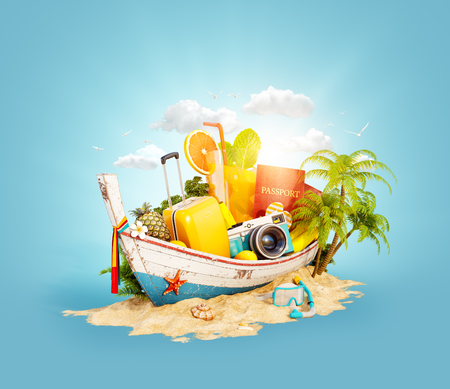 Foto de Beautiful Thai boat with suitcase, passport and camera inside on sand. Unusual 3d illustration. Travel and vacation concept. - Imagen libre de derechos