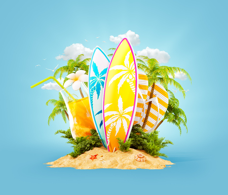 Photo pour Surf boards on paradise island with palms. Unusual travel 3d illustration. Summer vacation concept - image libre de droit