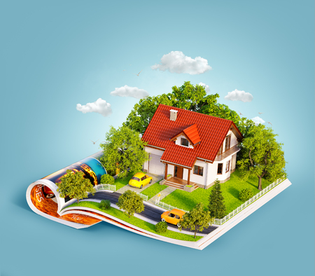 Foto de White house of dream with white fence, garden and trees on opened pages of magazine. Unusual 3d illustration. Travel and camping concept - Imagen libre de derechos