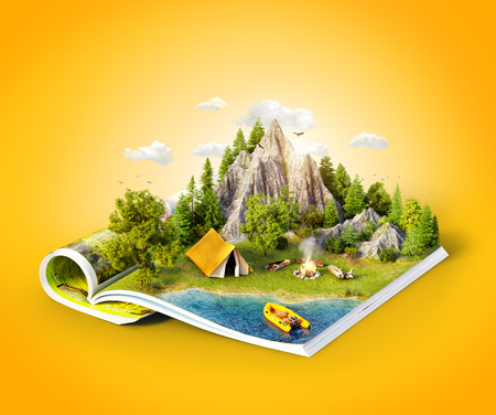 Photo pour Mountain in forest, green meadow and camp tent near a lake on opened pages of magazine. Unusual 3d illustration. Travel and camping concept - image libre de droit