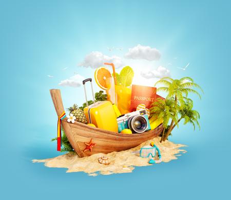 Foto de Beautiful Thai boat with suitcase, passport and camera inside on sand. Unusual 3d illustration. Travel and vacation concept. - Imagen libre de derechos