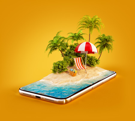 Photo pour Unusual 3d illustration of a tropical island with palm trees, deckchair and umbrella on a smartphone screen. Travel and vacation concept - image libre de droit
