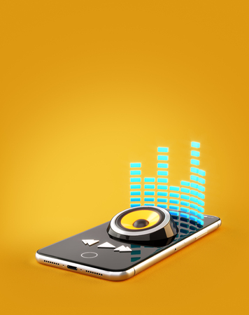 Photo pour Smartphone application for online buying, downloading and listening to music. Unusual 3D illustration of music player app on a smartphone screen - image libre de droit