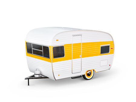 Photo for Retro car with white trailer. Unusual 3d illustration of a caravan. Camping and traveling concept - Royalty Free Image