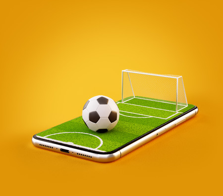 Photo pour Unusual 3d illustration of a soccer field and soccer ball on a smartphone screen. Watching soccer and betting online concept - image libre de droit