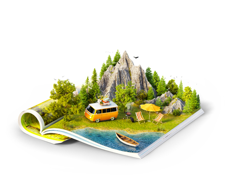 Photo pour Mountain, forest, green meadow and car near a lake on opened pages of magazine. Isolated unusual 3d illustration. Travel and camping concept. Family picnic - image libre de droit
