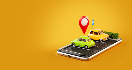 Photo pour Unusual 3d illustration os smartphone application for online searching free parking place on the map. GPS Navigation. Parking and car sharing concept - image libre de droit