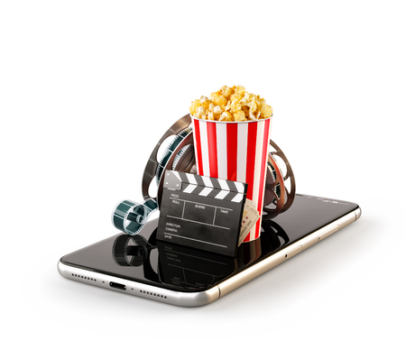 Photo pour Smartphone application for online buying and booking cinema tickets. Live watching movies and video. Isolated unusual 3D illustration of popcorn, cinema reel, clapper board and tickets on smarthone in hand - image libre de droit