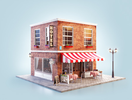 Photo for Unusual 3d illustration of a cozy cafe, coffee shop or coffeehouse building with striped awning and outdoor tables - Royalty Free Image