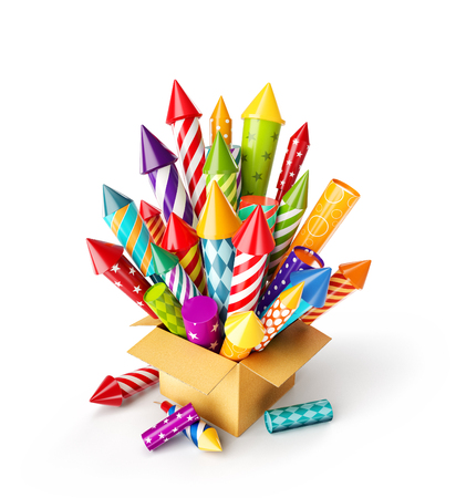 Photo pour Unusual 3d illustration of bright colorful fireworks rockets in a box. Holidays and Christmas celebration concept. Isolated on white - image libre de droit