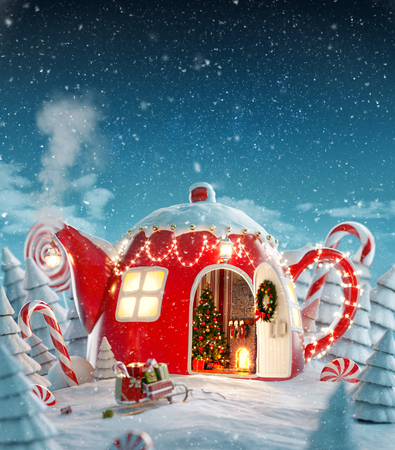 Photo pour Amazing fairy house decorated at christmas in shape of teapot with christmas interior inside in magical forest with spurces and candy canes. Unusual christmas 3d illustration postcard. - image libre de droit
