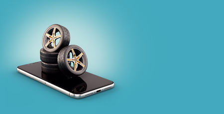 Photo pour Unusual 3d illustration of car tires on a smartphone screen. Tire Size Calculator. Choosing and buying tires online concept - image libre de droit