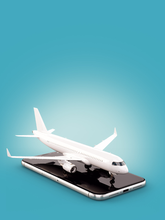 Foto de Smartphone application for online searching, buying and booking flights on the internet. Unusual 3D illustration of commercial airplane on smartphone - Imagen libre de derechos