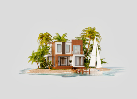 Foto de Unusual 3d illustration of a tropical island. Luxury exotical villa and yacht by pier. Modern architecture. Travel and vacation concept. - Imagen libre de derechos