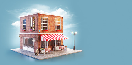 Photo pour Unusual 3d illustration of a cozy cafe, coffee shop or coffeehouse building with striped awning and outdoor tables - image libre de droit