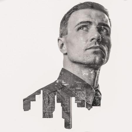 Foto de Double exposure of a city and professional businessman portrait looking up - Imagen libre de derechos