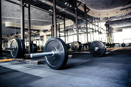 Foto de Closeup image of a gym interior with equipment - Imagen libre de derechos