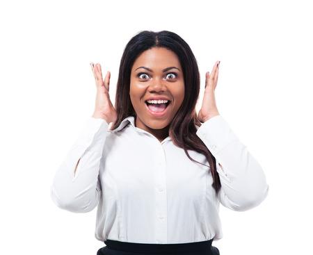 Foto de Portrait of surprised african businesswoman isolated on a white background. Looking at camera - Imagen libre de derechos