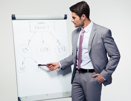 Handsome businessman making presentation on flipchart over gray background