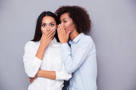 Photo pour Portrait of a two girls gossip on gray background - image libre de droit