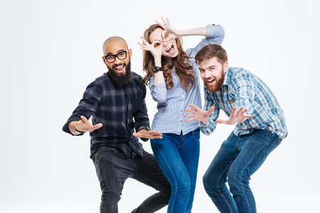 Photo pour Group of students in casual clothes laughing and having fun - image libre de droit