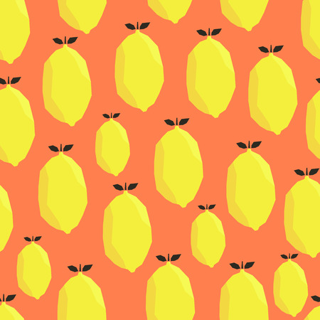 Ilustración de Bright yellow lemons on orange background. Vector seamless pattern. - Imagen libre de derechos