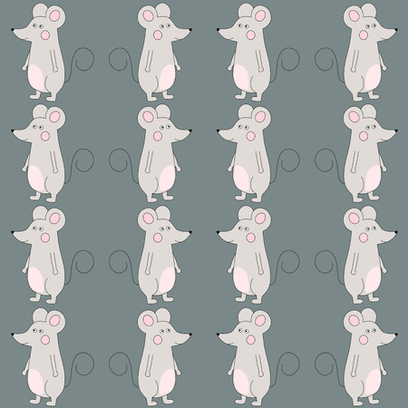 Illustration for Happy cute cartoon mouse seamless pattern over gray. Vector illustration - Royalty Free Image