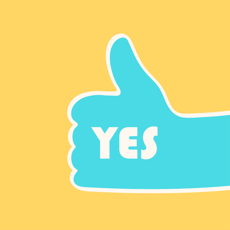 Illustration pour Hand giving thumbs up gesture with YES sign over yellow background. Vector illustration - image libre de droit