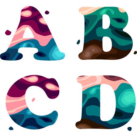 Ilustración de Set of a colorful patterned A,B,C,D letters alphabet. Vector illustration - Imagen libre de derechos