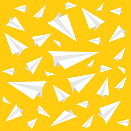 Illustration pour Ppaper plane pattern on a yellow background. Vector illustration - image libre de droit
