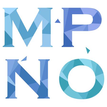 Ilustración de Geometric shapes font alphabet. M,N,O,P. Vector illustration - Imagen libre de derechos