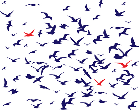 Illustration for bird silhouettes pattern over white. Vector illustration - Royalty Free Image