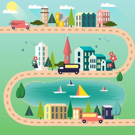 Ilustración de Three trucks on a road connecting three cities on a sunny day. Vector illustration - Imagen libre de derechos