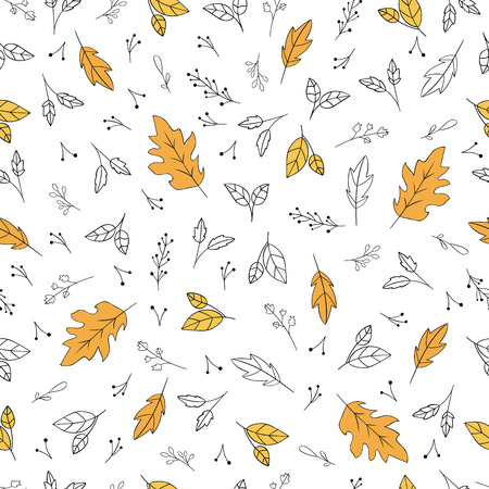 Ilustración de Floral pattern with autumn leaves and herbs. Vector illustration - Imagen libre de derechos