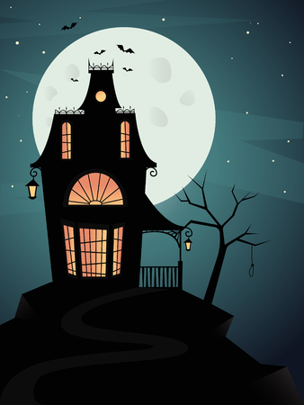 Illustration pour Spooky haunted ghost house with full moon and bats. Vector illustration - image libre de droit