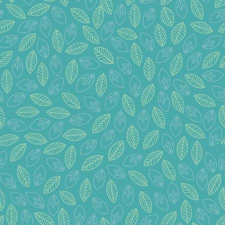 Illustration for Seamless leaves outline pattern. Vector illustration - Royalty Free Image