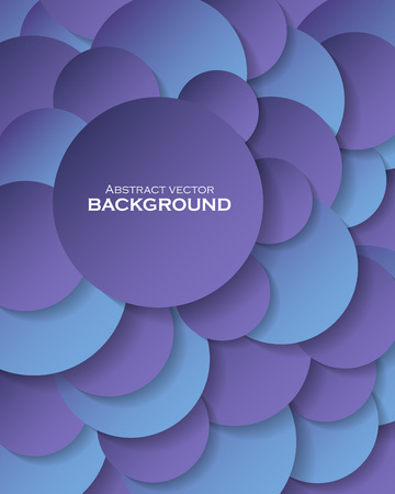 Ilustración de Abstract background with blue paper circles and place for text. Vector illustration - Imagen libre de derechos
