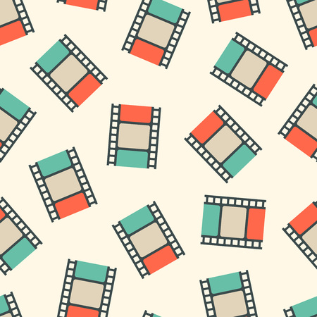 Illustration pour Movie film strips seamless pattern. Vector illustration - image libre de droit