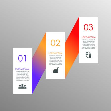 Ilustración de Stylish colorful elements for business infographics. Template for diagram, graph, report, presentation, chart, web design. 3 steps, parts, options, stages - Imagen libre de derechos