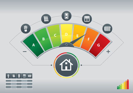Illustration pour Illustration of energy efficiency meter with icons of house and chart - image libre de droit