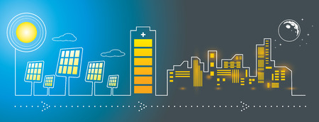 Illustration pour Illustration of solar panels city energy charging with big battery - image libre de droit
