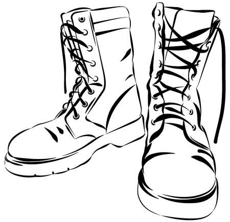 Illustration pour Old army boots. Military leather worn boots. Vector graphic illustration - image libre de droit