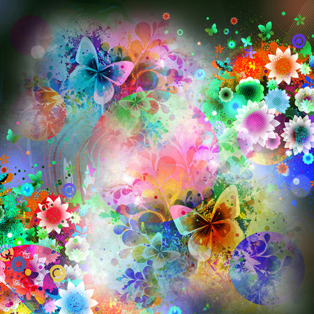 Photo for Colorfull butterflies on abstract magic splashes background - Royalty Free Image